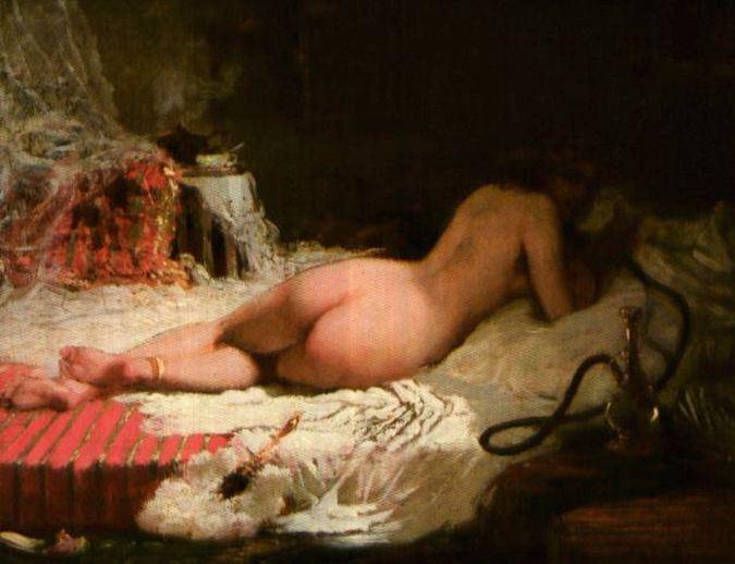 Gilbert Alexandre de Severac (French painter1 834-1897) - nud cu narghilea