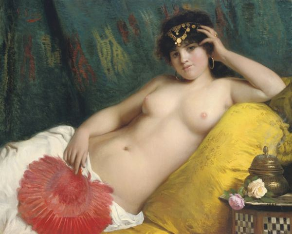 Giovanni Costa (1833-1893)  -  An odalisque with a Red Fan