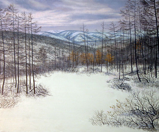alexander-khodulov-iarna-in-yakutia-pictura-in-ulei