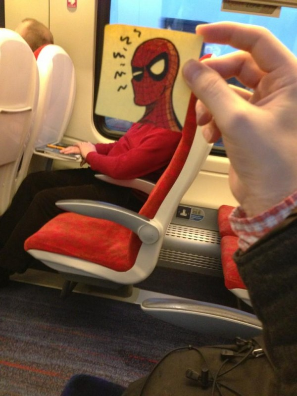 doodle spiderman train