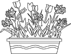 planșă de colorat - flori ghiveci primăvară