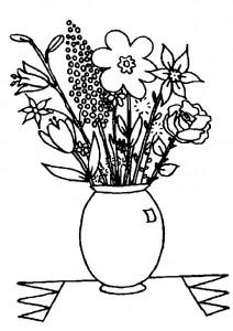 planșă de colorat - buchet flori vază